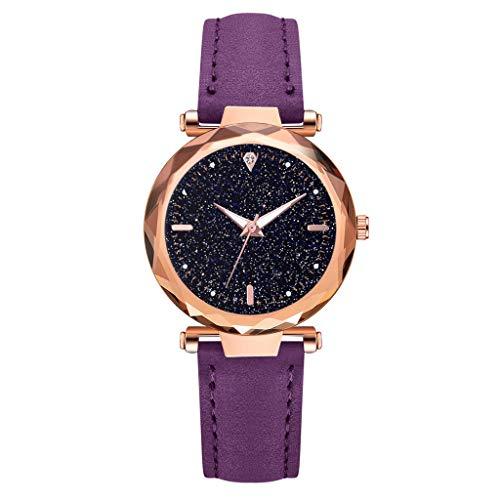 XZDCDJ Damenuhren Erwachsene Analog Quarz Uhr Fashion Armbanduhren Klassiche Uhren Glas Diamant Uhr Ledergürtel leuchtende Uhr Ruffled Glas