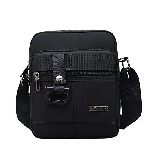 YZJLQML DamentascheEinfacher vielseitiger Segeltuchrucksack Oxford-Stofftasche für Männer wasserdichtes Segeltuch, diagonal geschultert - schwarz