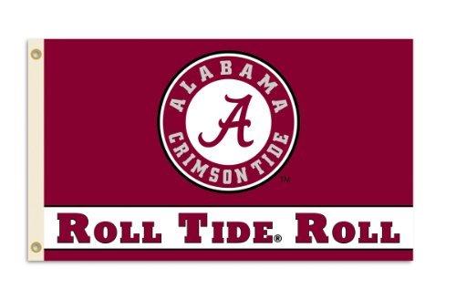 BSI NCAA Flagge, 3 x 5 m, mit Ösen, Herren Unisex-Erwachsene Damen, Alabama Crimson Tide, 3' x 5' -