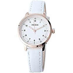 Kezzi Women's White Strap Watch K1388 Classic Quartz Watch White Leather Band Causual Office Wristwatches for lady