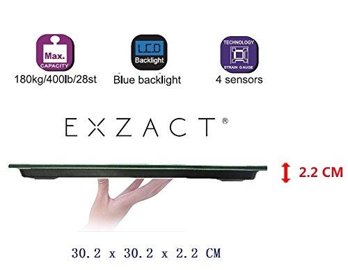 41jXjG0mytL - Exzact - Báscula Corporal Electrónica/Báscula de Baño Digital/Escala Personal -Capacidad Grande 180kg / 400lb / 28st
