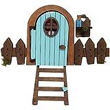 Puerta Ratoncito Pérez azul que se abre, con polvo mágico que brilla, escalera y valla decorativa