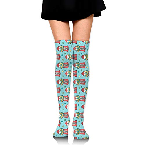 Fun Life Art Bubble Gumball Machine Rot auf Blau Kleinerer Winziger 1-Zoll-Damen-Overknee-Schenkel-Socken-Mädchen Hohe Strümpfe 65 cm / 25,6 Zoll