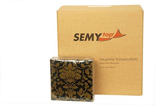 Servilleta de tendido al aire SEMY 40x40 cm negro/oro 1.4 veces 1er Pack (1 x 50 piezas)