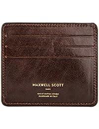 Maxwell Scott¨ Luxury Italian Leather Men's Credit Card Holder (Marco), Dark Chocolate Brown