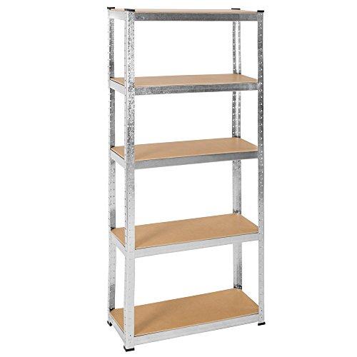Tectake scaffale oggetti pesanti officina magazzino armadio garage 5 ripiani metallo mdf - disponibili in diverse misure - (750x300x1800mm | no. 401460)