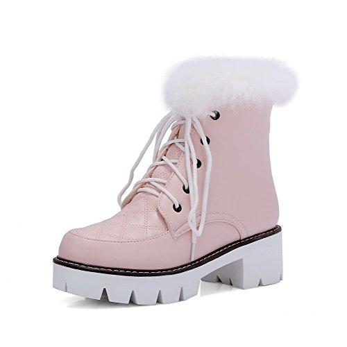 AllhqFashion Damen PU Mittler Absatz Plattform Schnüren Rund Zehe Stiefel mit Knoten, Pink, 35