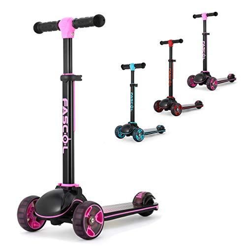 Fascol Kinderroller Klappbar Roller Scooter ab 3-12 Jahre Kinderscooter mit LED Räder Tretroller Belastbarkeit bis 60 kg (Rosa)