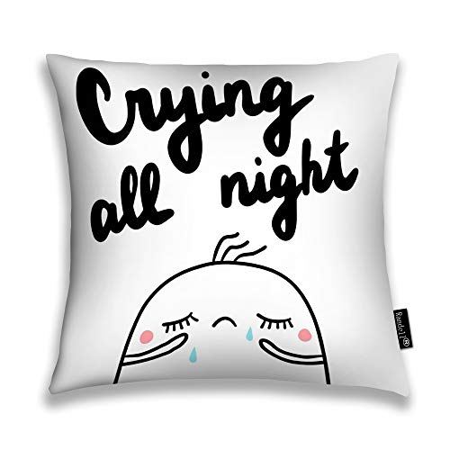hrow Pillow Case Crying All Night Sad Marshmallow Minimalism Cushion Cover Square 18 X 18 Inches ()