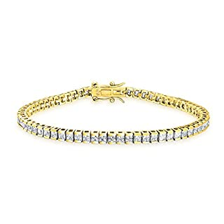 Quadratische Zirkonia Stift Set Aaa-Cz Princess Cut Tennis Armband Für Frauen 14K Vergoldet Sterling Silber 925