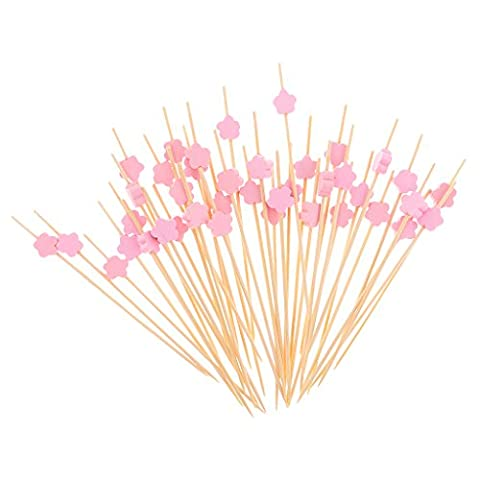 MagiDeal 100pcs Pics à Cocktail Bambou Design Fleur Mignon Fourniture