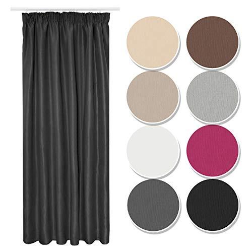 Melody Vorhang Gardine Curtain Blickdicht Kräuselband schwarz 140x245 cm Küche #9018