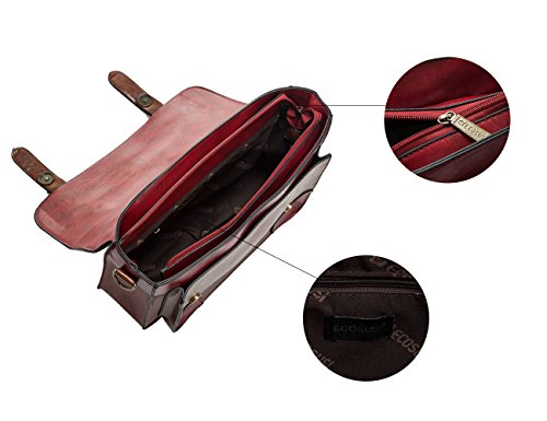 ECOSUSI Borse Messenger in Ecopelle Vintage Borse Cartella per Ragazza Borse Scuola Rosso
