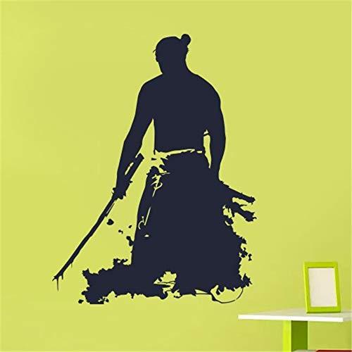 jiushizq Zitat Anime japanischen Samurai Krieger Wandtattoos Vinyl Büro Wandaufkleber für Kinderzimmer Kunst Dekor Wandbild Poster rot 58 x 44 cm (Wandtattoo Anime-zitat)