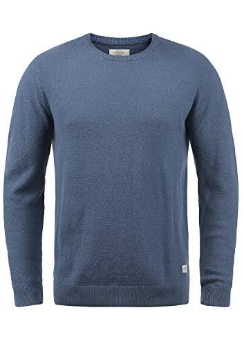 JACK & JONES Originals Lino Herren Strickpullover Feinstrick Pullover Mit Rundhals Aus 100% Baumwolle, Größe:L, Farbe:Vintage Indigo