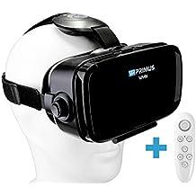 Gafas VR VR-PRIMUS VA4s + mando | Para smartphone 's p.ej. iPhone,Samsung Galaxy,HTC,Sony,LG,Huawei | Ajustable,Google Cardboard QR,Botón de control | VR box,glasses,móvil,controlador | negro