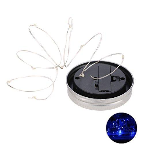 LEDMOMO 1M 10 LED-Maurer-Glas-Solarlicht für Glas-Maurer-Gläser und Garten-Dekor-Solarlichter (blaues Licht)