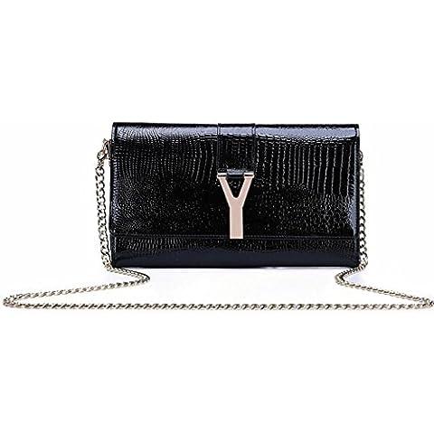 Ladies Handbags Nuovo lucida pelle verniciata Faux Pochette Borsa di sera del partito (28 * 16,5 * 4cm) , black