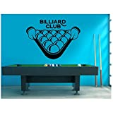 Kreatives Design Billard Club Wandaufkleber Pool Spiel Aufkleber Snooker Sport Home Interior Dekoration Removable Murals 57X42 Cm