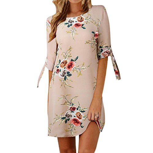 Frühjahr Womens Cap Sleeve T-shirts (QinMM Blumendruck Bowknot Ärmeln Cocktail Minikleid Casual Party Kleid Damen Sommer Blütenblatt Kleid Hochzeit Club Kleid Vintage Stilvolle S-5XL (S, Khaki))
