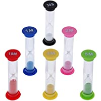 Anpro 6PCS Sabliers Minuterie Horloge de Sable Hourglass 6 Couleurs 30 Sec / 1 Minute / 2 Minutes / 3 mins / 5 Minutes / 10 Minutes Désigné pour Jeux ,Cuisine , Exercice