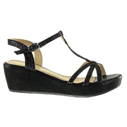 Angkorly Chaussure Mode Sandale Plateforme Salomés Femme Multi-Bride Pailettes Brillant Talon Compensé Plateforme 6 cm Noir