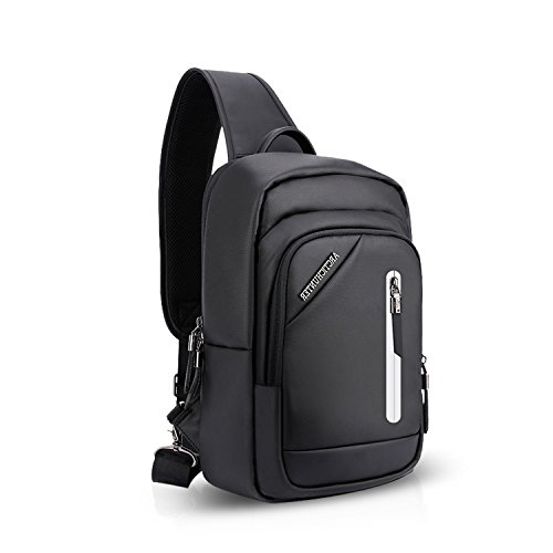 FANDARE Sling Bag Rucksack Umhängetasche Brusttasche Messenger Bag Schultertasche Hiking Bag Daypack Crossbody Bag Chest Pack Sports Reisetasche Wasserdicht Polyester Schwarz Schwarz