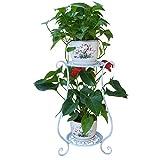 YVSoo Blumenregal 2 Etagen Metall Blumenständer Blumentreppe Dekorativ für Haus/Garten/Terrasse-Weiß