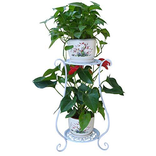 Rolanli Blumenständer Metall Blumenregal Dekor für Innen Outdoor Garten Balkon - Weiß