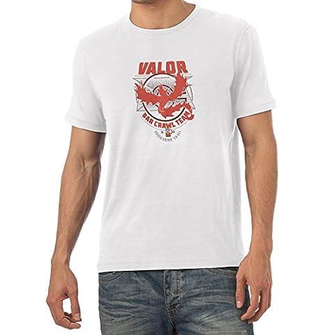 NERDO - Bar Crawl Team Valor - Herren T-Shirt, Größe S, weiß