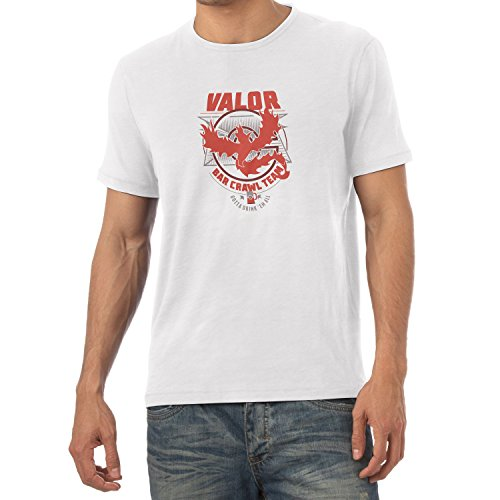 NERDO - Bar Crawl Team Valor - Herren T-Shirt, Größe S, (Pokemon Rote Kostüm Trainer)