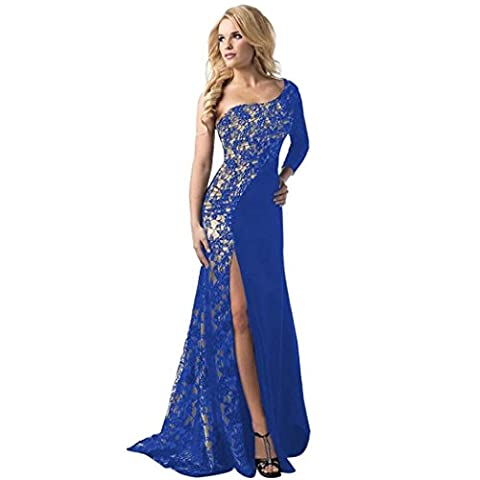 Ubabamama Fashion Women Sexy Lace Patchwork Asymmetrical Open Dress Formal Wedding Bridesmaid Long Ball Prom Gown One Shoulder Off Cocktail Dress (S,