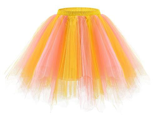 bridesmay Tutu Damenrock Tüllrock 50er Kurz Ballet Tanzkleid Unterkleid Cosplay Crinoline Petticoat für Rockabilly Kleid Coral-Champagne L