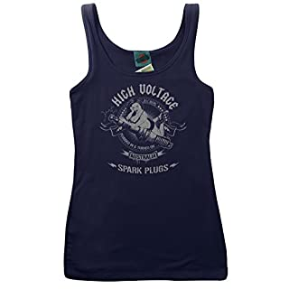 AC/DC Inspired HIGH Voltage Spark Plugs, Women's Vest, Small, Navy blau