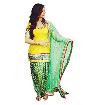 Spangel Enterprise Women's Cotton Silk Dress Material (Yellow patiyala_1_Free Size_Yellow)