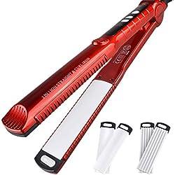 Michool Trois-en-Un température réglable bâton de Cheveux lisseur Cheveux Coiffeur ne Fait Pas Mal Cheveux,Rouge