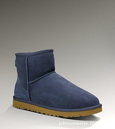Sqiao-x- Snow Boots Cálido Antideslizante Elegante Y Versátil Botas De Mujer Botas De Nieve El Azul