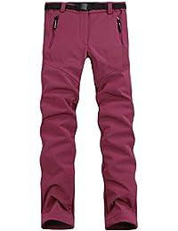Hibote Femme Pantalon Étanche Softshell Ultra Thermique Doublure en Polaire Hiver Automne Coupe-Vent Résistant Respirant Sport Randonnée Camping Running Ski S-3XL