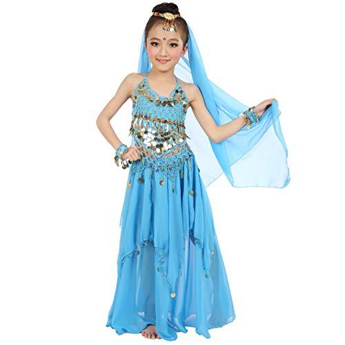 Magogo Mädchen Bauchtanz Kostüm Karneval Party Kostüm, Kinder Glänzende Dancewear Cosplay Arabische Prinzessin Outfit (L, (Aladdin Pantomime Kostüm)