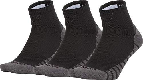 Nike Lightweight Quarter Training Sock (3 Pair) Black/White, L -