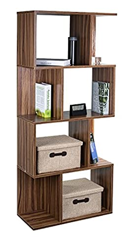 TOP-MAX Wooden Bookshelf Storage Shelf 4 Level Tiers Bookcase Freestand Rack Unit Cube 141cm