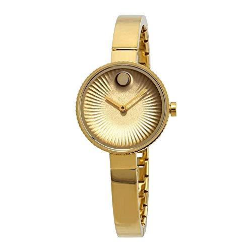 Movado Women's Edge 28mm Gold IP Bracelet & Case Swiss Quartz Watch 3680021