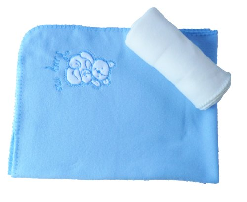 Angel Kids 2 Pack Baby Wickeldecke, blau/cremefarben