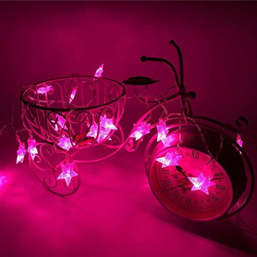 lichterkette,FeiliandaJJ 2M 10LED Kristallklarer Stern LED Licht Hochzeit Party Weihnachten Weihnachten Halloween Innen/Außen Haus Deko String Lights 3xAA Batterie (Rosa)