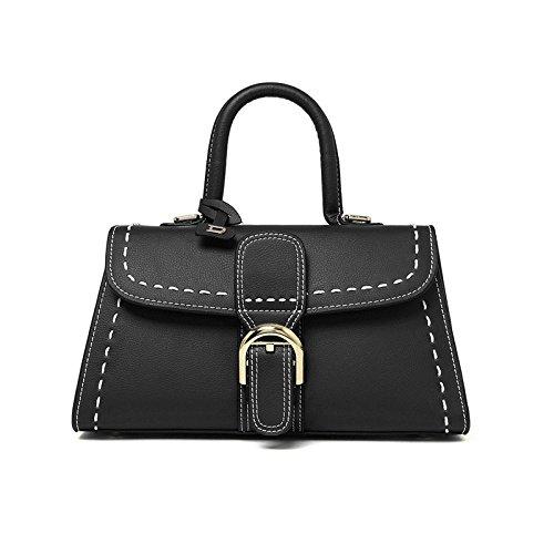 Mefly Nuovo In Pelle Da Donna In Pelle Di Moda Portare Su Grigio black