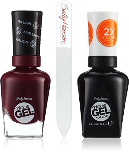 Sally Hansen Miracle Gel FB. 489+ Top Coat incluso Gratis-Lima per unghie, V Amplified, rosso, 1er Pack (1x 29ml)