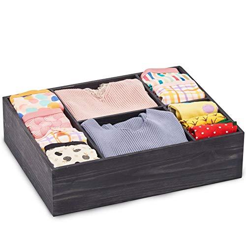 Ezoware scatola portaoggetti in legno, 5 sezioni decorativa contenitore organizzatore per piccoli oggetti, cassettiera, armadio, intimo, mensola - grigio, 38 x 30 x 10 cm