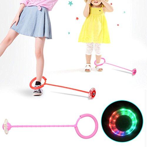 Senoow LED Flash Skip Ball Jumping Fußkraft Ball Outdoor Sports Fitness Spielzeug Für Erwachsene Kinder Kind (rosa)