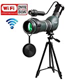 Aliynet 20-60x60mm Spotting Scope Telescope with WiFi Wireless Connect with Smartphone APP,Infrared Night