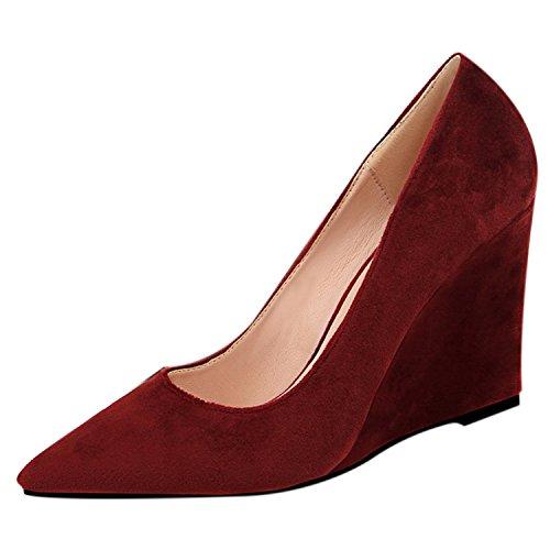 Oasap Women's Pointed Toe Slip-on Low Top Wedge Heels Pumps Burgundy